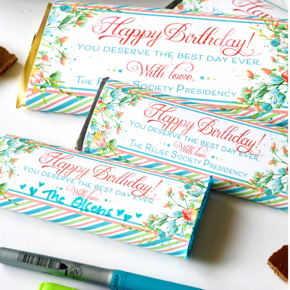 Relief Society Birthday Chocolate Candy Bar Wrapper - Blue Floral Birthday Gift