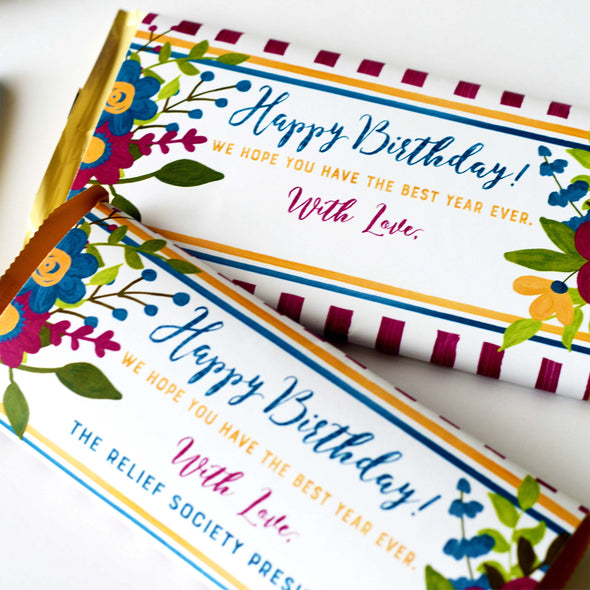 Relief Society Birthday Chocolate Candy Bar Wrapper - Purple Yellow Floral Birthday Gift