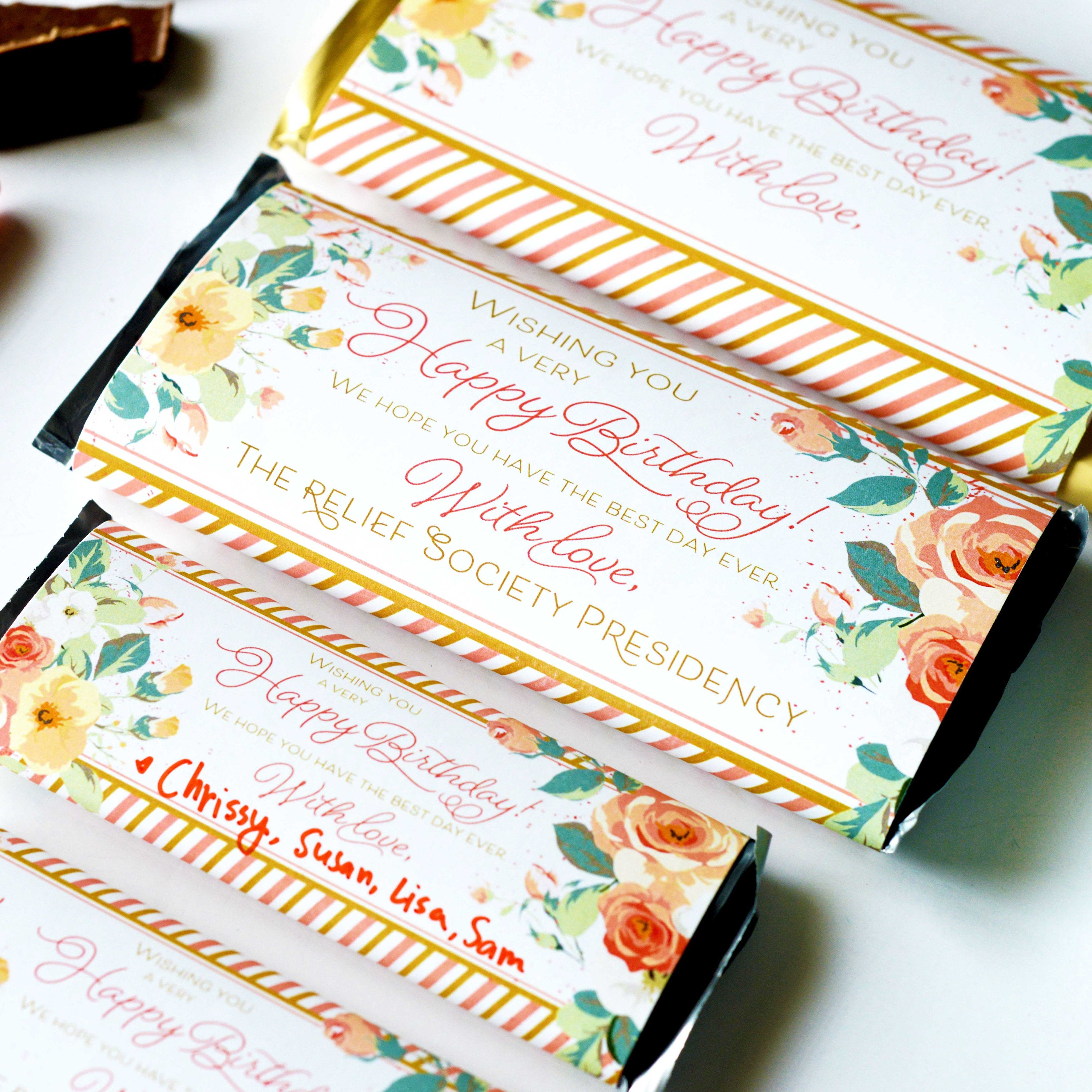 Relief Society Birthday Chocolate Candy Bar Wrapper - Rose ...