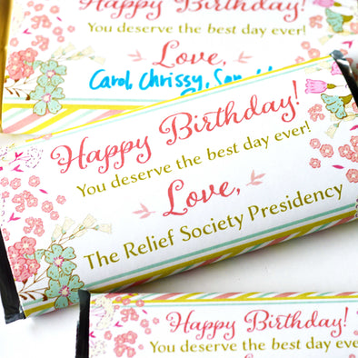 Relief Society Birthday Chocolate Candy Bar Wrapper - Easy Birthday Gift