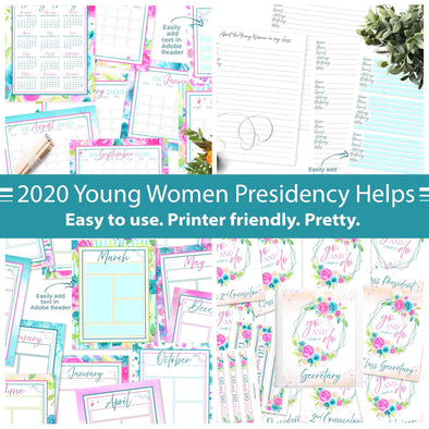 Young Women 2020 Presidency Helps Printable Kit | Printables for Latter-day Saint Young Women 2020