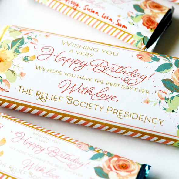 Relief Society Birthday Chocolate Candy Bar Wrapper - Rose Floral Birthday Gift