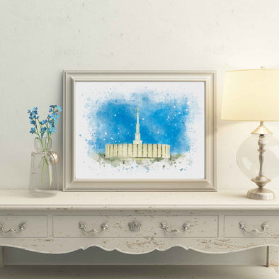Provo Utah Temple Watercolor Fine Art | Watercolor LDS Temple 11x14, 8x10, 5x7, 4x6, Bookmark Digital Download