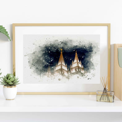 Salt Lake Temple At Night Watercolor Fine Art | Watercolor LDS Temple 11x14, 8x10, 5x7, 4x6, Bookmark Digital Download
