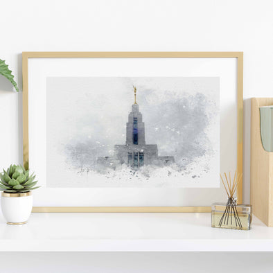 Draper Utah Temple Watercolor Fine Art | Watercolor LDS Temple 11x14, 8x10, 5x7, 4x6, Bookmark Digital Download