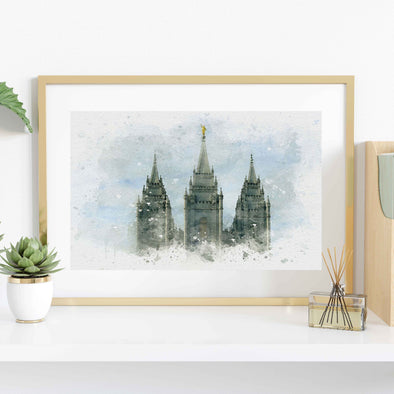 Salt Lake Temple Watercolor Fine Art | Watercolor LDS Temple 11x14, 8x10, 5x7, 4x6, Bookmark Digital Download