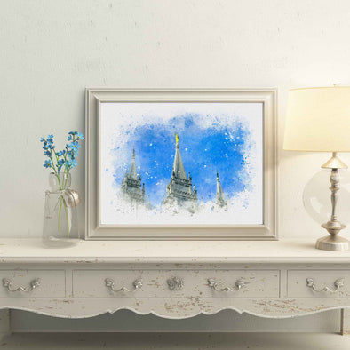 Salt Lake Temple Spires Watercolor Fine Art | Watercolor LDS Temple 11x14, 8x10, 5x7, 4x6, Bookmark Digital Download