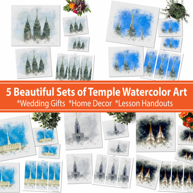 5 Latter-day Saint (LDS) Temple Watercolor Fine Art | Draper, Provo, Salt Lake Temple 11x14, 8x10, 5x7, 4x6, Bookmark Digital Download