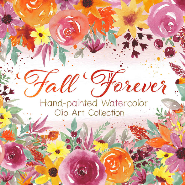 Fall Forever Watercolor Floral Design Clip Art | Watercolor Flower Clip Art | Free Commercial Use Clip Art | Watercolor Wedding Clip Art