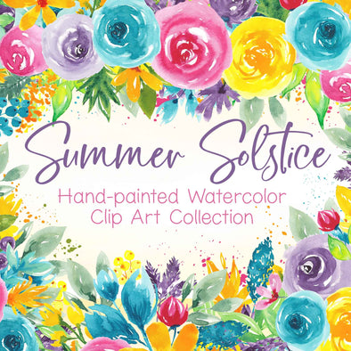 Summer Solstice Watercolor Floral Design Clip Art | Watercolor Flower Clip Art | Free Commercial Use Clip Art | Watercolor Wedding Clip Art