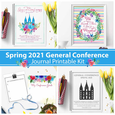 Spring April 2021 General Conference Journal Kit - LDS General Conference Journals for Families, Young Women, Primary, & Relief Society