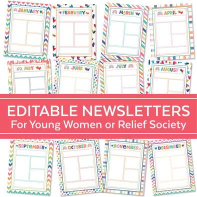 Editable Newsletters for LDS Young Women & Relief Society | Editable Blank Newsletters