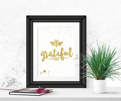 Be Grateful Wall Art, Gratitude Art, Digital Download,  Thanksgiving
