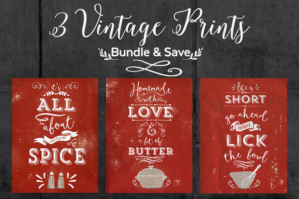 Vintage Wall Art, Kitchen Wall Art, It's All About the Spice, Lick the Bowl, Homemade With Love, Bundle and Save