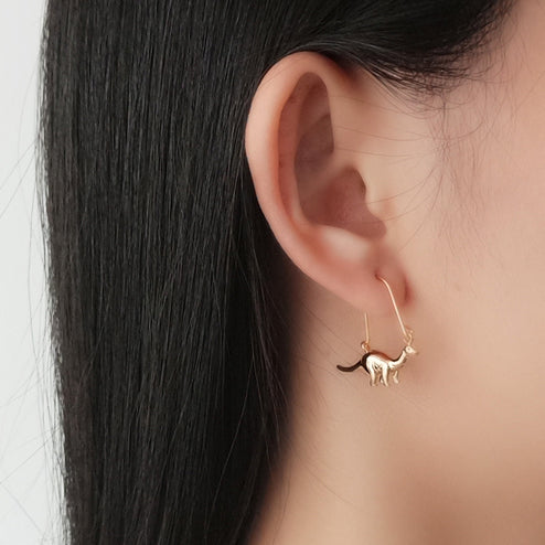 Gold Dinosaur hook earring