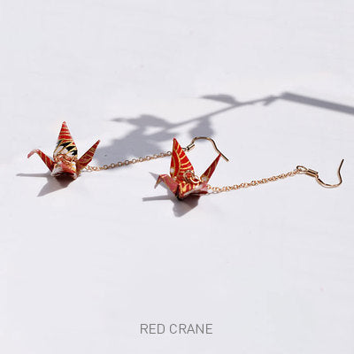 Handmade Origami Crane earrings with plated gold chain