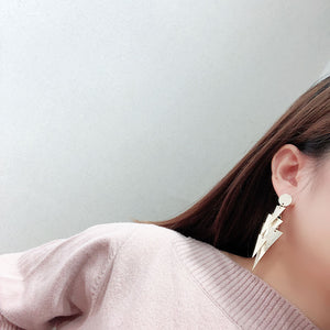 Gold Textured Layered Triangle Stament Earring