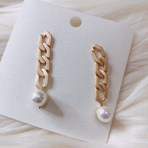 Gold Pearl Chain Matte Finish Earring