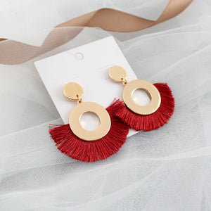 Gold Bass Round Red Frill Earring