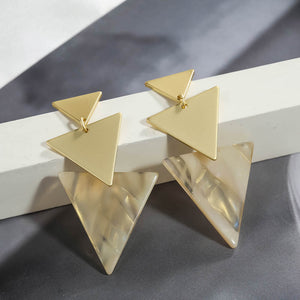 Matte Gold Marble Triangle Earrings