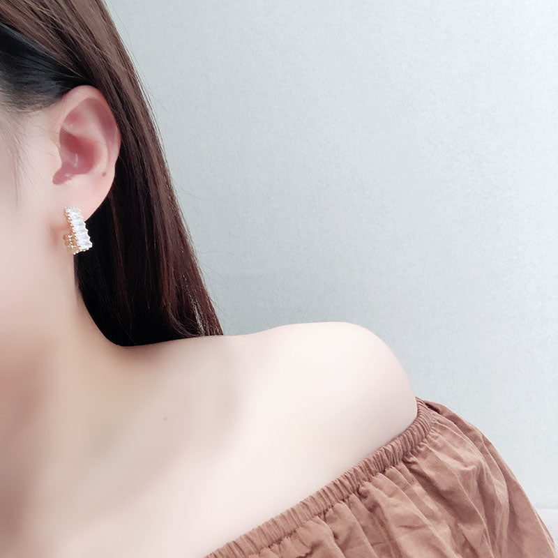 Gold Studs Hook Earrings
