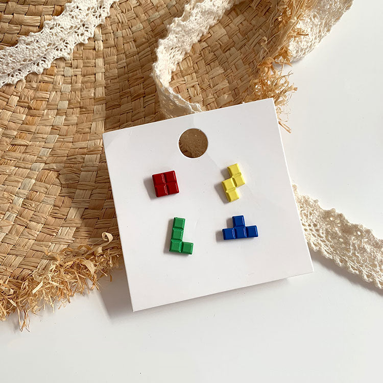 Tetris mix match earrings