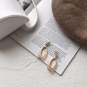 Multiple Layers Matte Finish Gold Earrings