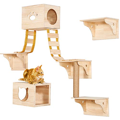 9pcs Wall Wood Cat Climber Set, CAT CATTY - CAT CATTY