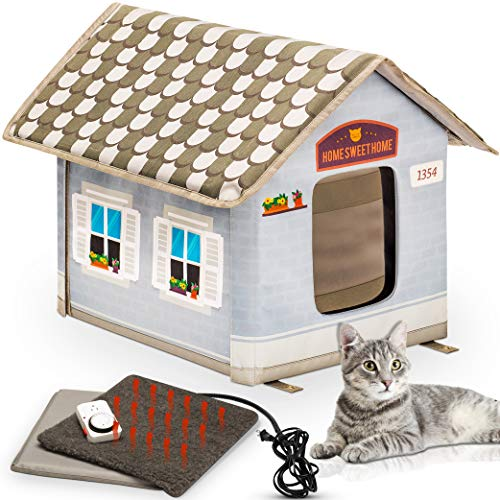 Heated Outdoor Cat House [Plug In Timer Included], CAT CATTY - CAT CATTY