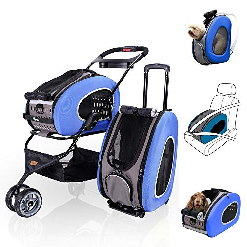 Multifunction Pet Carrier  Backpack + CarSeat + Pet Carrier Stroller +Rolling Carrier, CAT CATTY - CAT CATTY