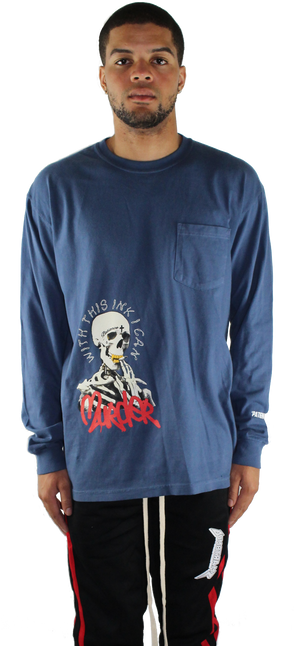 NAVY 'PATIENCE' LONG SLEEVE T SHIRT