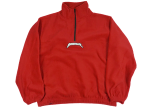 RED QUARTER-ZIP FLEECE PULLOVER