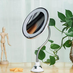 10x Flexible Makeup Mirror Stand With LED Lights