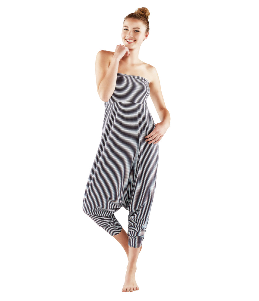 Manduka Women's Pantaloon Onesie - White and Grey Stripe