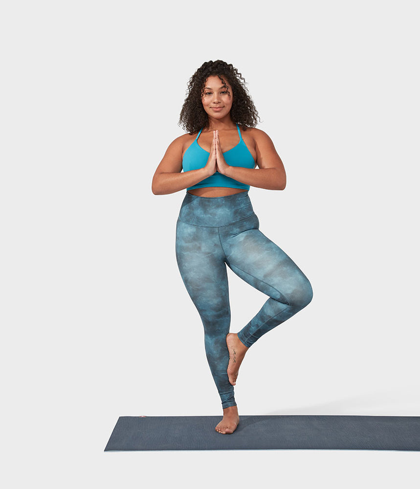 Manduka Performance Legging High Rise Printed - Camo Tie Dye Blues