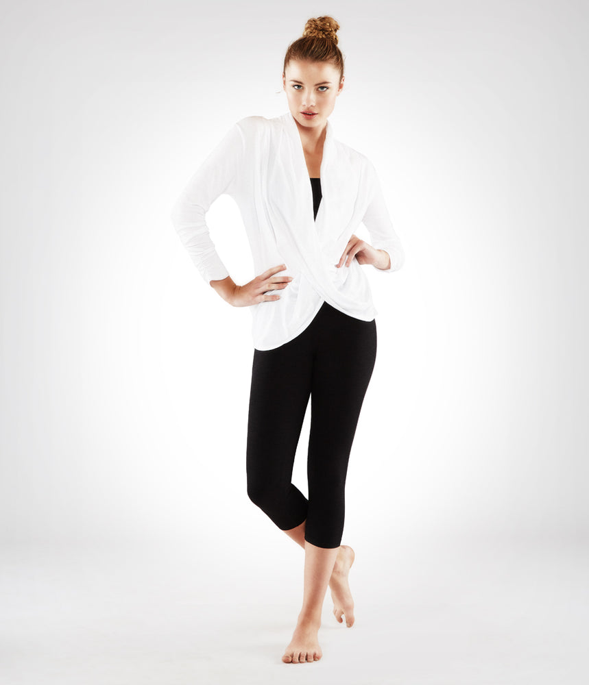 Manduka Long Sleeve Twist Front Top - White