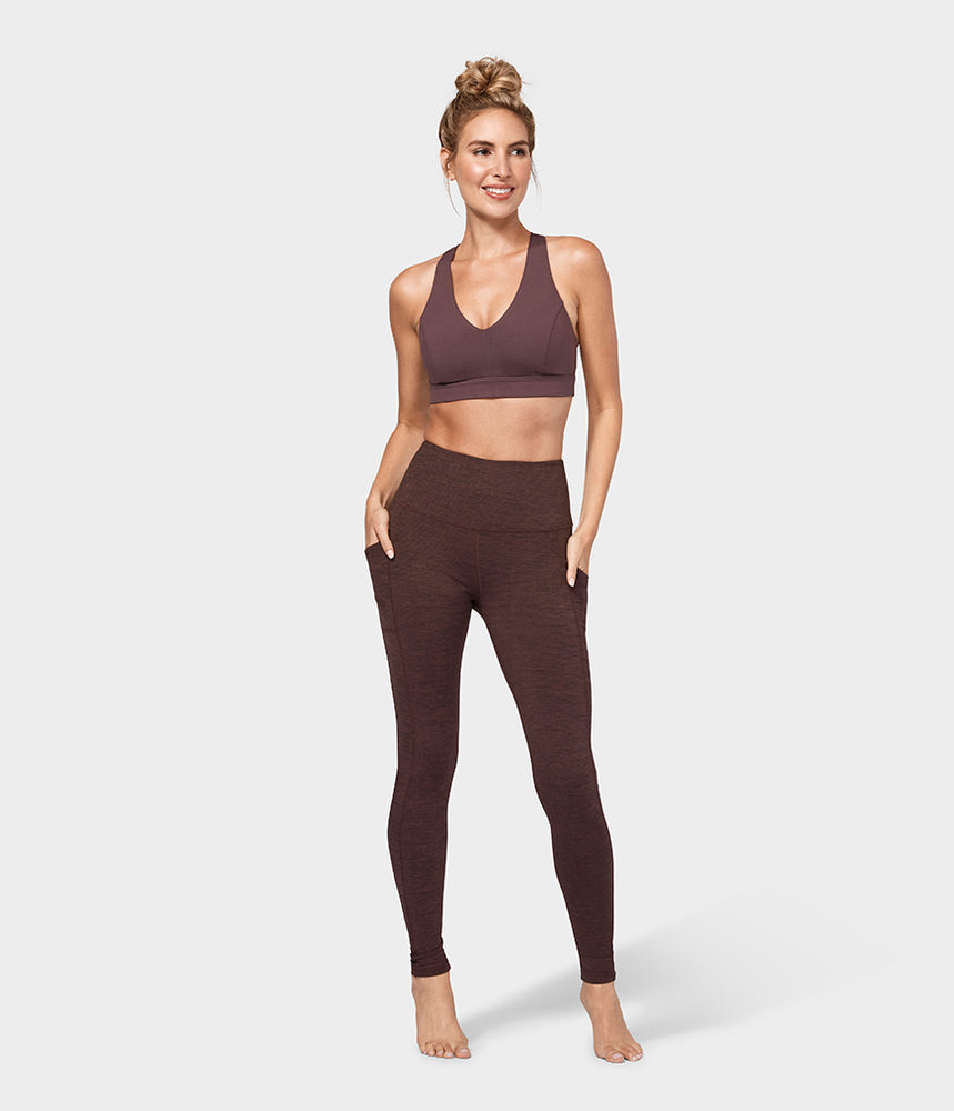 Manduka Essential Pocket Legging - Heather Fig