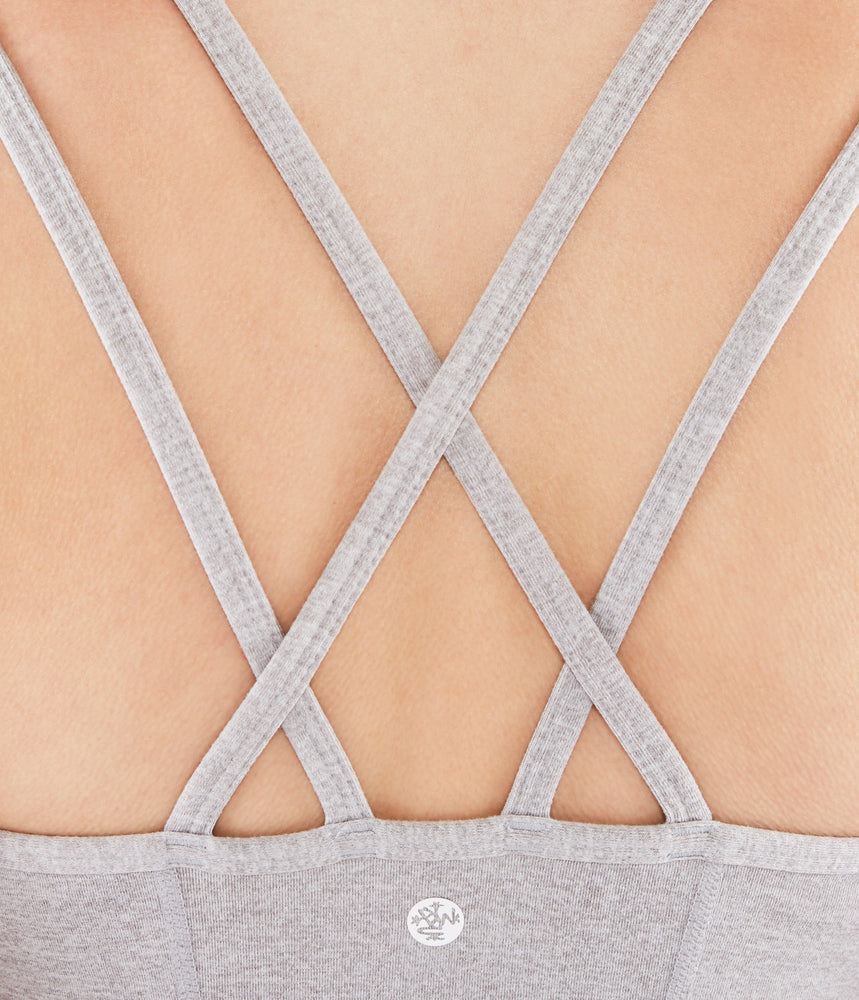 Manduka New Cross Strap Cami - Light Heather Grey