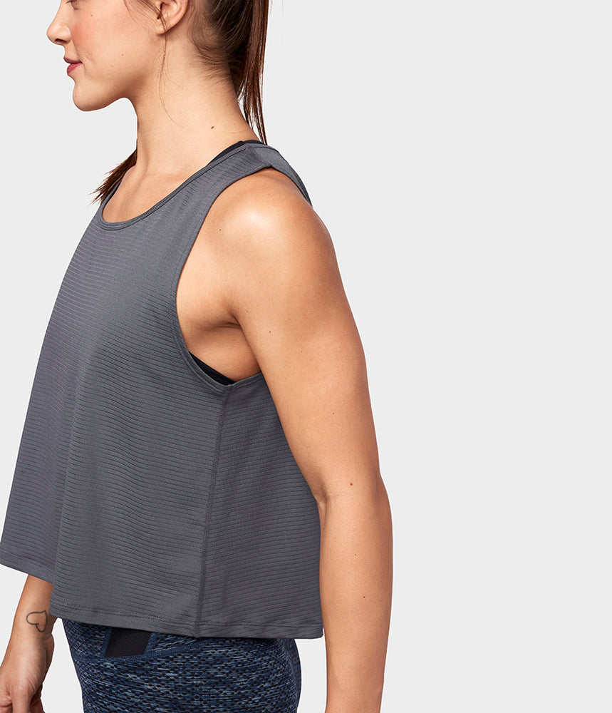 Manduka Breeze Crop Top - Charcoal