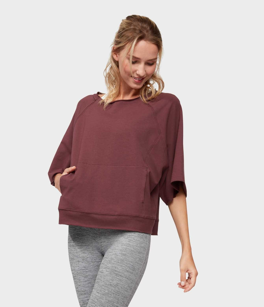 Manduka Resolution Raglan Pullover - Dark Chestnut