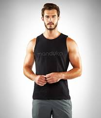 Manduka Men's 100% Cotton Organic Yoga tank - black