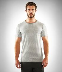 Manduka Transcend Performance Stripe Tee-Dawn Grey Stripe