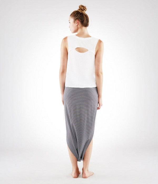 Manduka Women's Harem Wrap - White And Grey Stripe