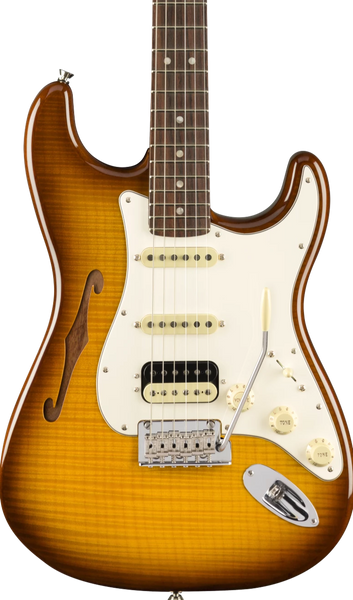FENDER RARITIES - FLAME MAPLE TOP THINLINE STRAT HSS