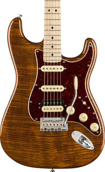 FENDER RARITIES - FLAME MAPLE TOP STRATOCASTER MN GOLDEN BROWN