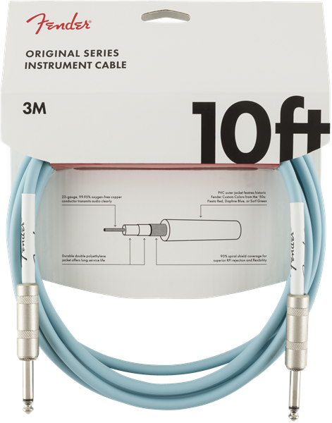FENDER ORIGINAL SERIES INSTRUMENT CABLE 10FT - DAPHNE BLUE