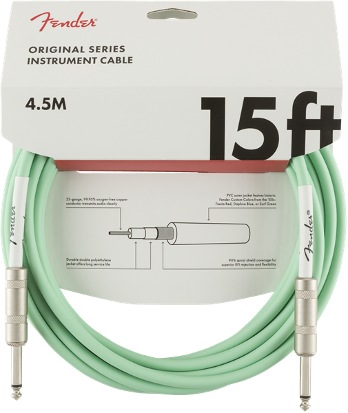 FENDER ORIGINAL SERIES INSTRUMENT CABLE 15FT - SURF GREEN