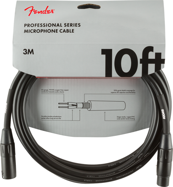 FENDER PROFESSIONAL SERIES MICROPHONE CABLE - 10FT