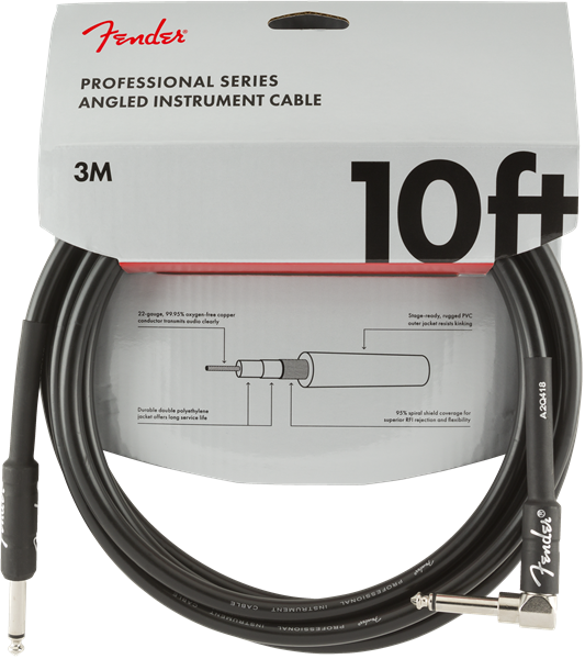 FENDER PRO INSTRUMENT CABLE 10FT - STRAIGHT TO RIGHT ANGLE
