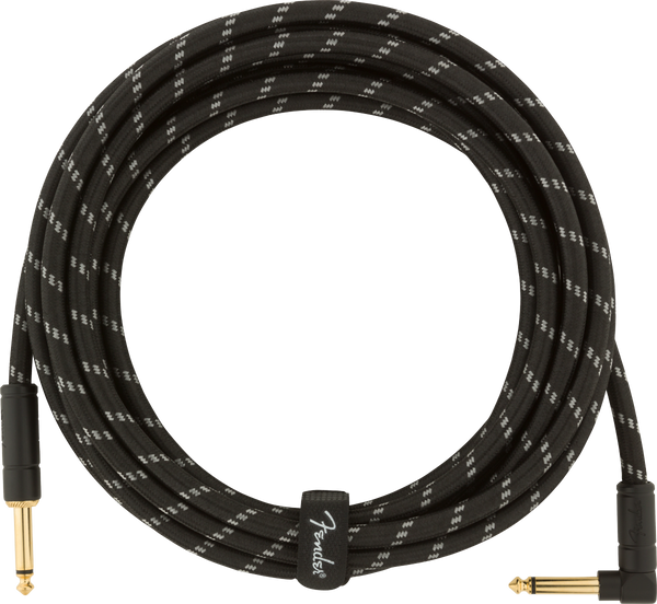 FENDER DELUXE INSTRUMENT CABLE 15FT - STRAIGHT TO RIGHT ANGLE BLACK TWEED